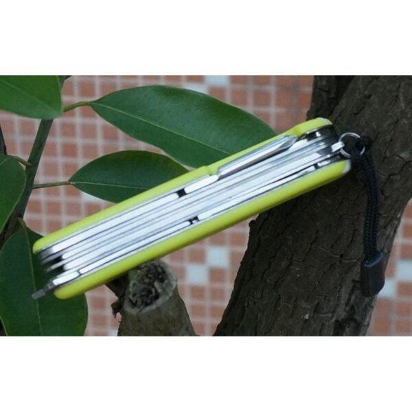 18196 - Многофункциональный нож для выживания - флуоресцентная рукоятка, 8 в 1, сталь 9C17