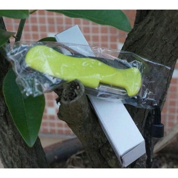 18197 - Многофункциональный нож для выживания - флуоресцентная рукоятка, 8 в 1, сталь 9C17