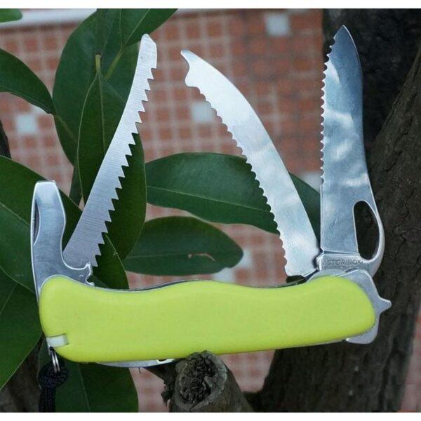 18200 - Многофункциональный нож для выживания - флуоресцентная рукоятка, 8 в 1, сталь 9C17