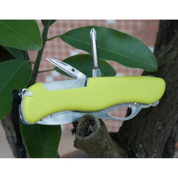 18205 - Многофункциональный нож для выживания - флуоресцентная рукоятка, 8 в 1, сталь 9C17