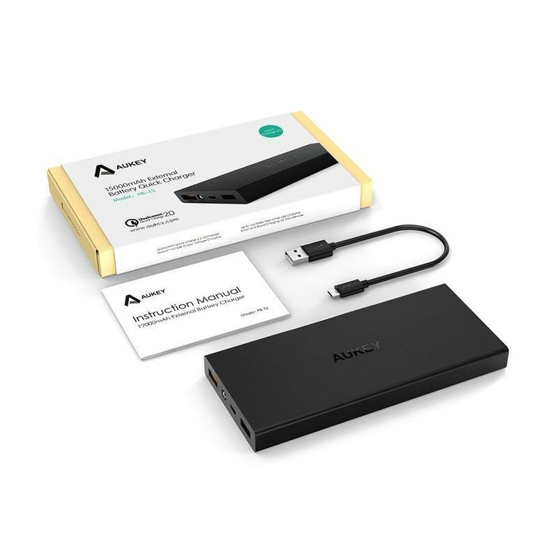 Внешний аккумулятор для быстрой зарядки Aukey Quick Charge 2.0 емкостью 15000 мАч 198520