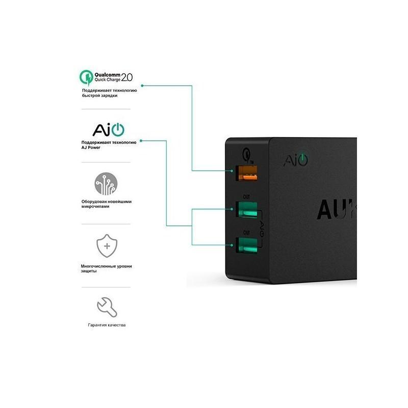 Зарядная мини-станция Aukey – 3 х USB, Quick Charge 2.0, AIPower 198556