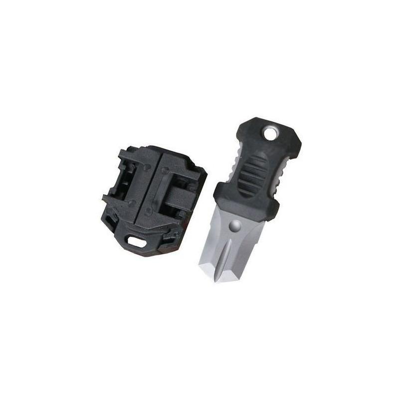 Многофункциональный EDC мини-нож для нательного, карманного ношения: сталь 440C, крепление M.O.L.L.E. - Черный