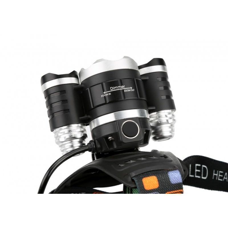 Светодиодный налобный фонарь – 3 светодиода, 2400 люмен, регулируемое крепление, 4 режима, фокус луча 198626