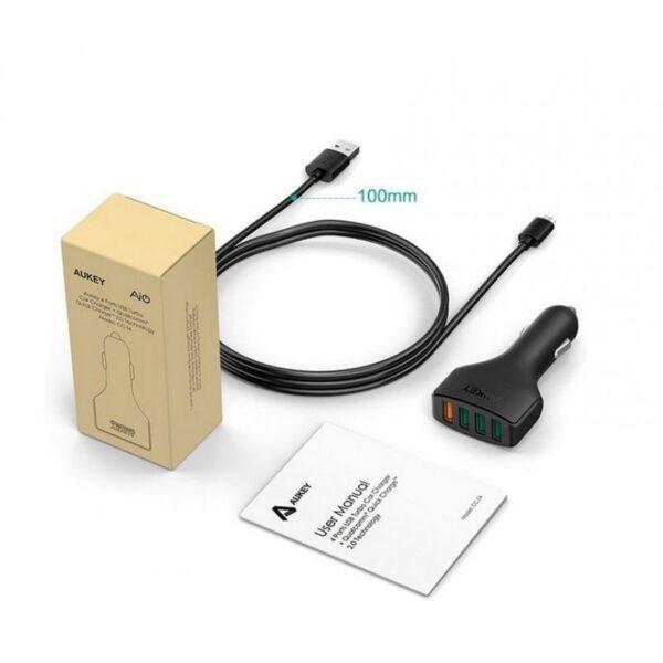 18557 - Быстрая автомобильная зарядка AUKEY Qualcomm QC2.0 на 4 выхода USB