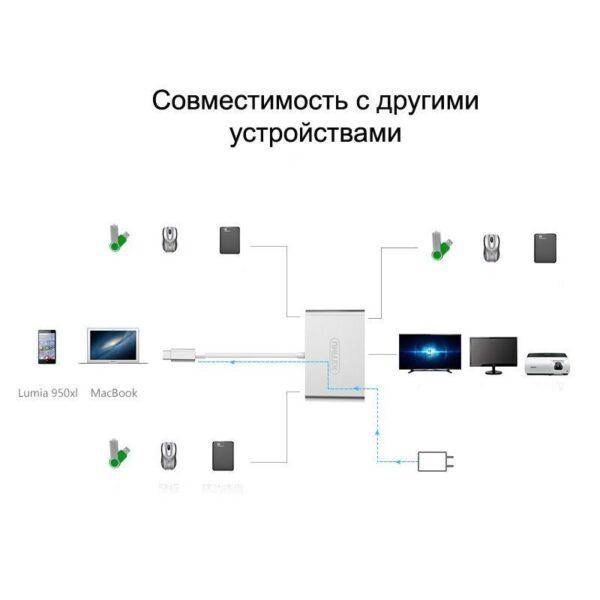 18642 - Многофункциональный USB-концентратор + HDMI-переходник + адаптер питания для устройств с портом USB Type-C: 2хUSB 2.0, USB3.0