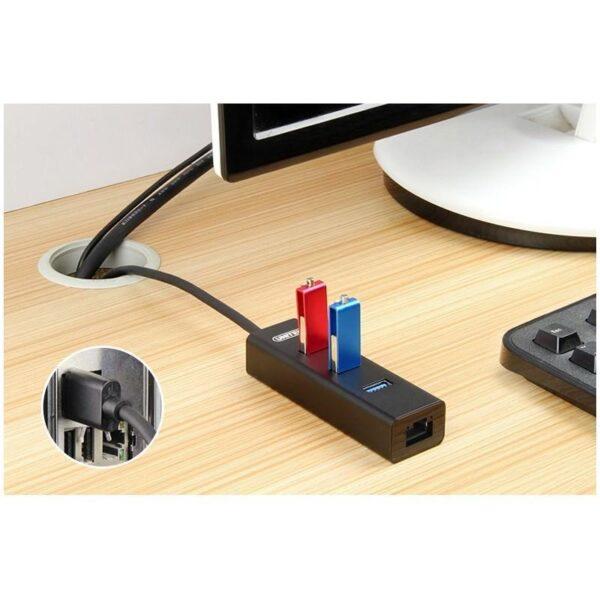 18657 - USB-концентратор + сетевая карта для USB Type-C/ USB 3.0-устройств: 3 х USB 3.0, RJ45