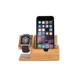 Деревянная зарядная станция для Apple Watch и iPhone – 3 х USB, бамбук