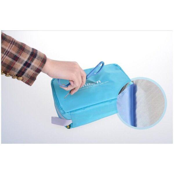 19844 - Дорожный несессер/ сумка-органайзер для банных принадлежностей и косметики: водонепроницаемая ткань, 3 внутренних отделения