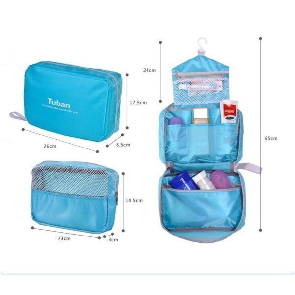 19849 - Дорожный несессер/ сумка-органайзер для банных принадлежностей и косметики: водонепроницаемая ткань, 3 внутренних отделения