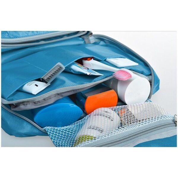 19856 - Дорожный несессер/ сумка-органайзер для банных принадлежностей и косметики: водонепроницаемая ткань, 3 внутренних отделения