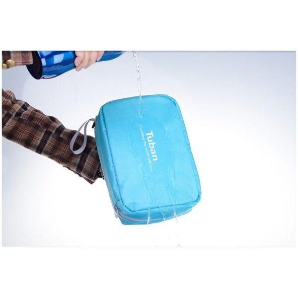 19859 - Дорожный несессер/ сумка-органайзер для банных принадлежностей и косметики: водонепроницаемая ткань, 3 внутренних отделения