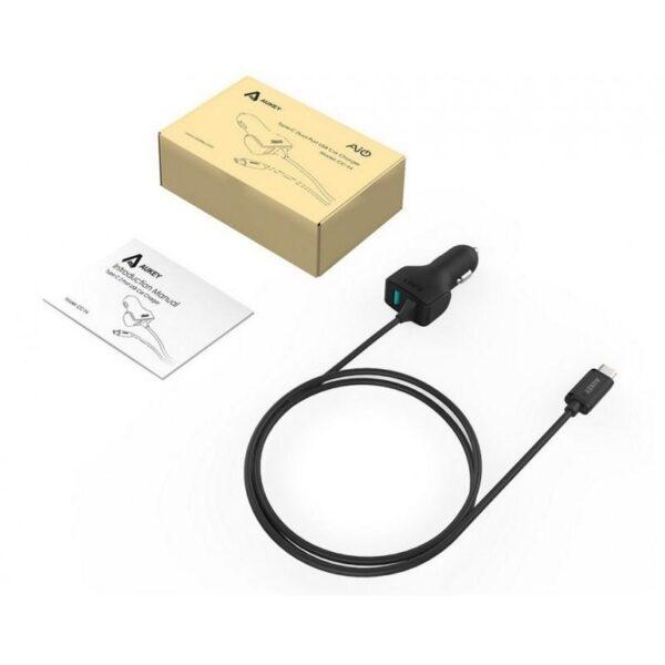 19950 - Автомобильное зарядное устройство AUKEY с технологией AiPower и USB Type-C