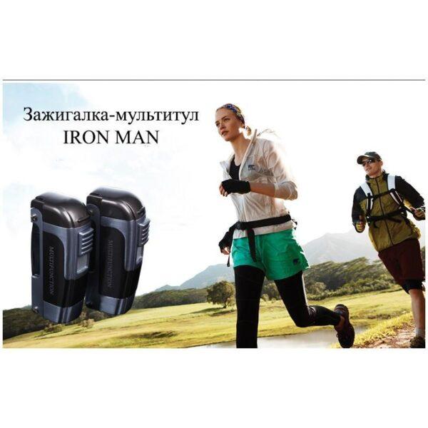 20022 - Зажигалка-мультитул IRON MAN: ветрозащита горелки, штопор, открывалка, нож