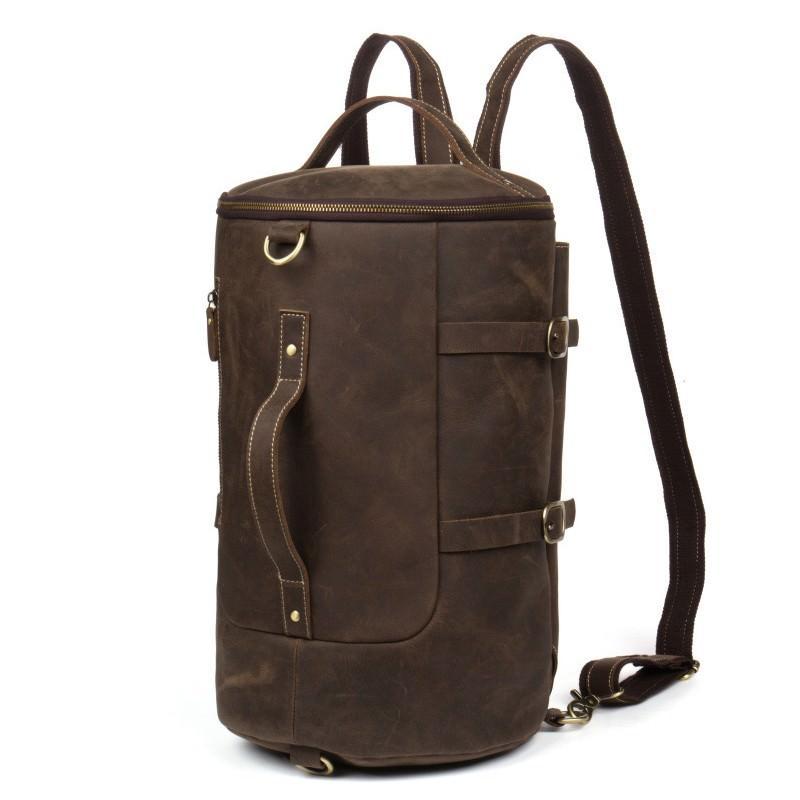 Мужская сумка-тубус из натуральной кожи Crazy Horse: плечевые лямки, съемная ручка 200077