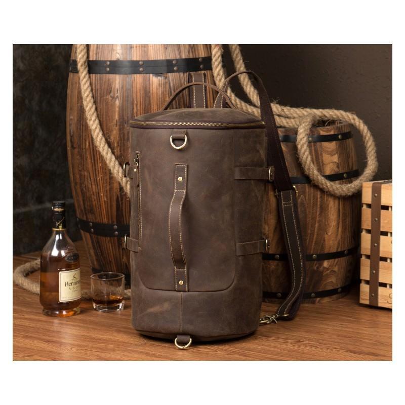Мужская сумка-тубус из натуральной кожи Crazy Horse: плечевые лямки, съемная ручка 200078