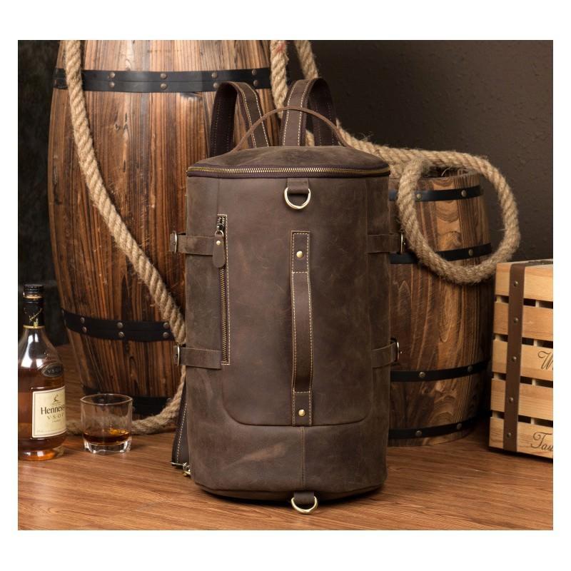 Мужская сумка-тубус из натуральной кожи Crazy Horse: плечевые лямки, съемная ручка 200079
