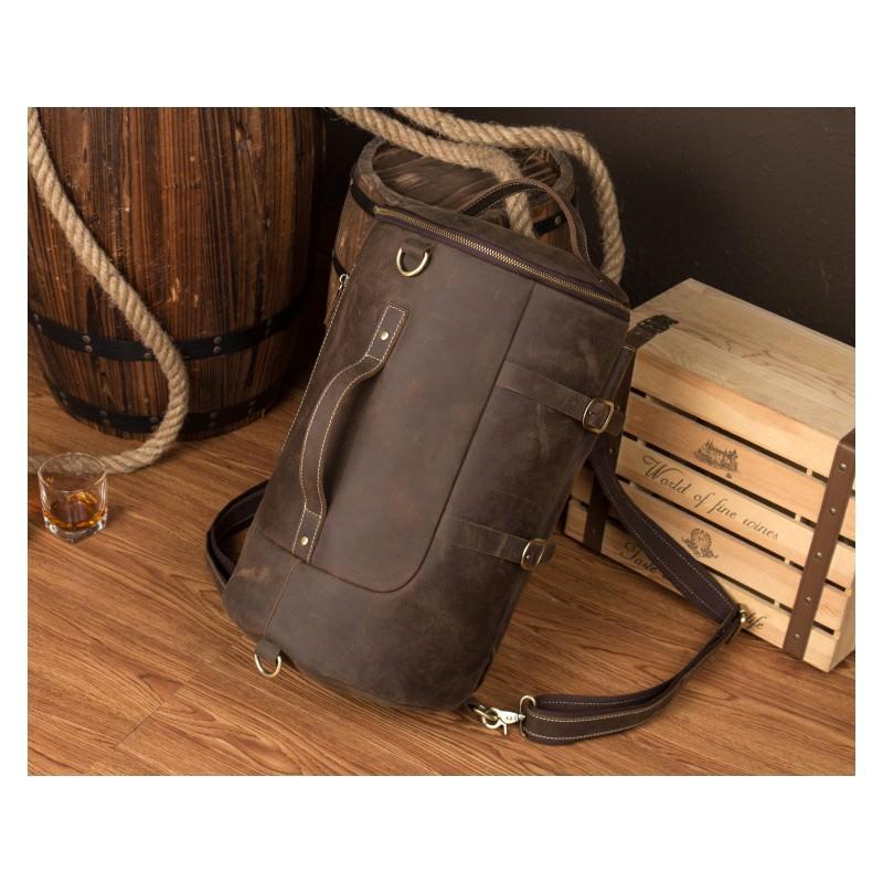 Мужская сумка-тубус из натуральной кожи Crazy Horse: плечевые лямки, съемная ручка 200080