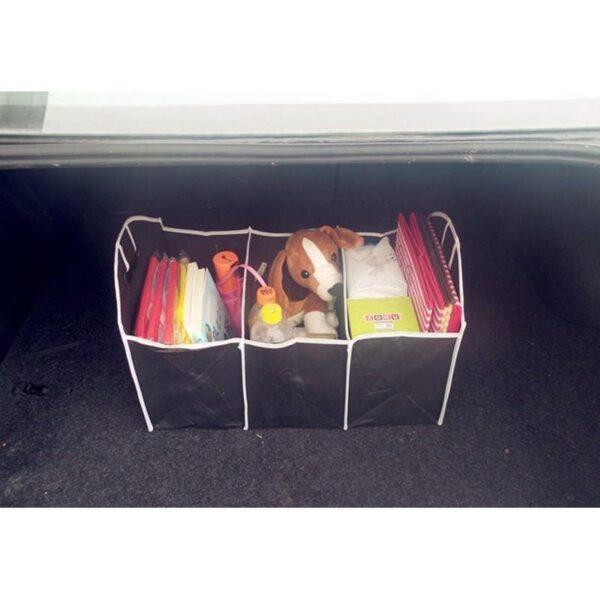20314 - Ящик для хранения вещей в багажнике автомобиля - нетканый текстиль, 3 отделения, крепкие ручки