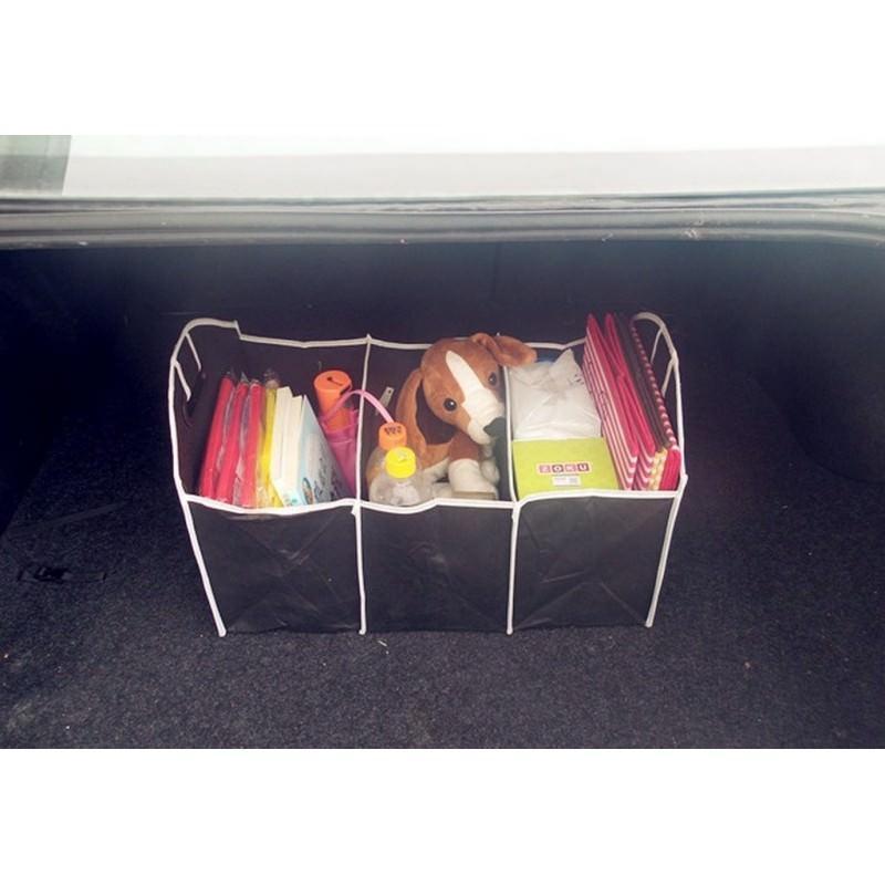 Ящик для хранения вещей в багажнике автомобиля – нетканый текстиль, 3 отделения, крепкие ручки 200145