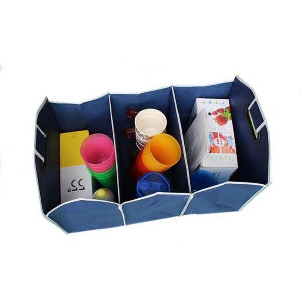 20321 - Ящик для хранения вещей в багажнике автомобиля - нетканый текстиль, 3 отделения, крепкие ручки