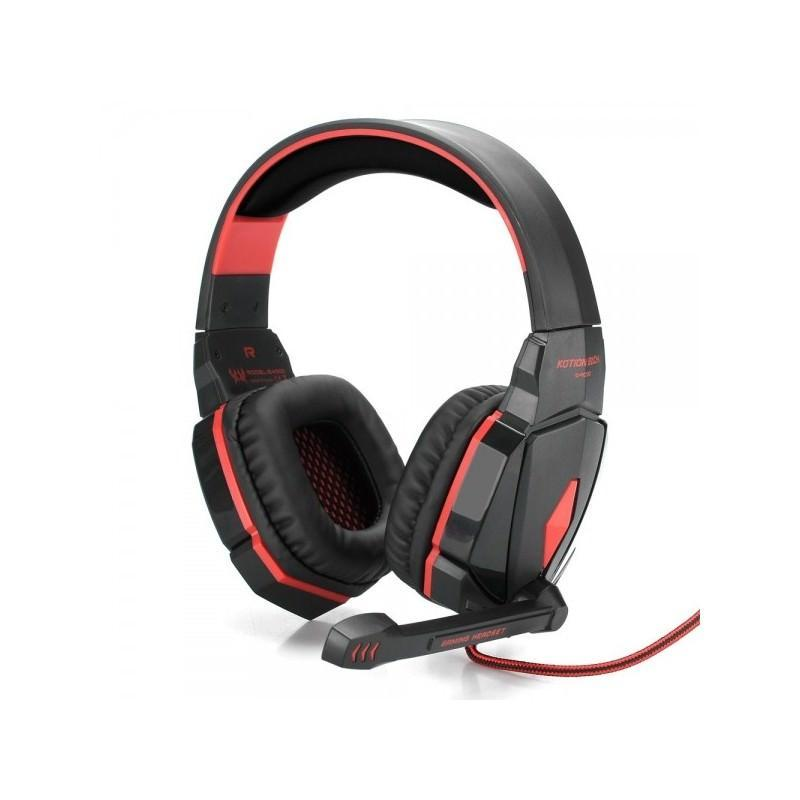 Игровые наушники Flymemo Kotion Each G4000 Pro Gaming с микрофоном, шумоподавление, подсветка, 2.2 м. - Красный
