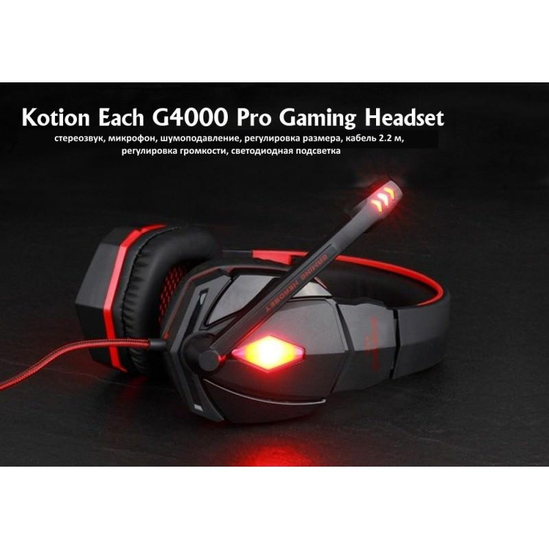 Игровые наушники Flymemo Kotion Each G4000 Pro Gaming с микрофоном, шумоподавление, подсветка, 2.2 м. 185034