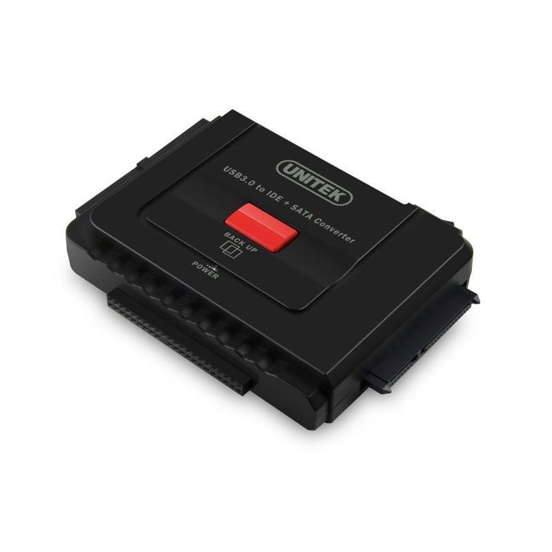 Универсальный конвертер UNITEK Y-3322 - переходник с USB 3.0 на IDE/ SATA жесткие диски 2.5/ 3.5 дюйма, а также DVD/ CD-приводы - Красный
