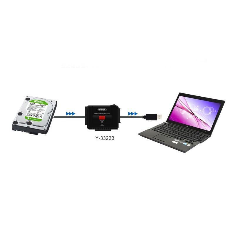Универсальный конвертер UNITEK Y-3322 – переходник с USB 3.0 на IDE/ SATA жесткие диски 2.5/ 3.5 дюйма, а также DVD/ CD-приводы 200313