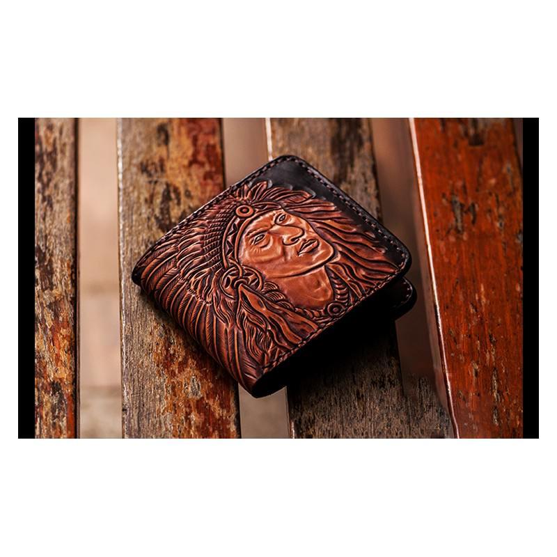20541 - Кожаное портмоне ручной работы Kongery Indian
