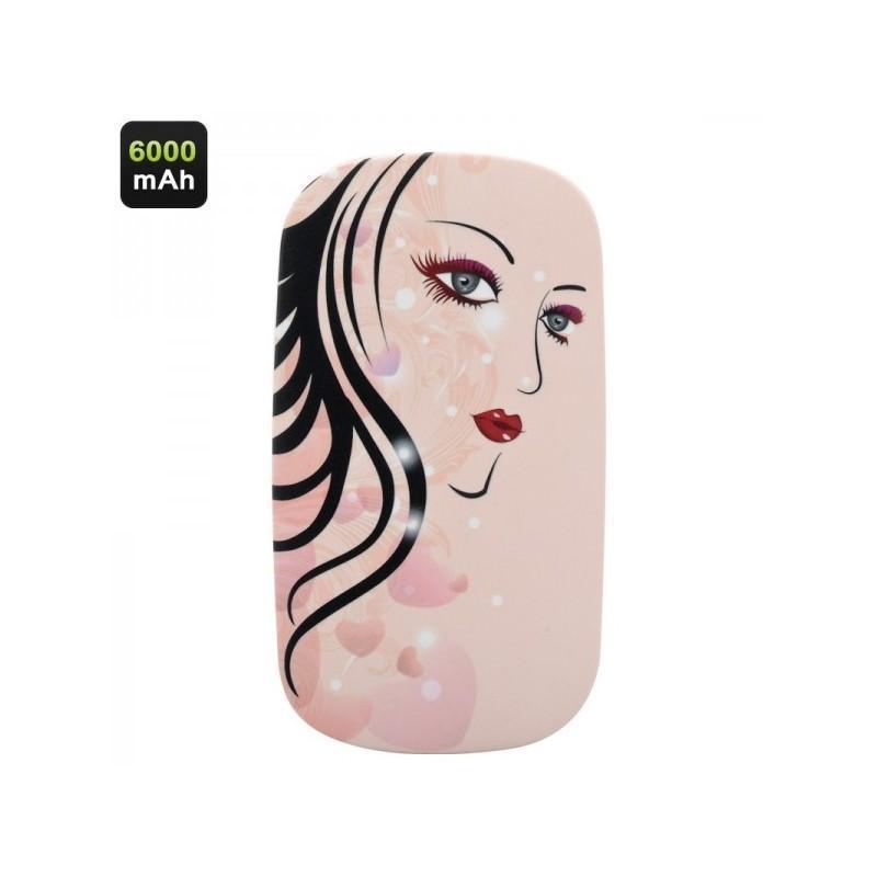 Портативный внешний аккумулятор/ power-bank с зеркалом – 6000 мАч, для любых мобильных устройств (отличный подарок женщине)