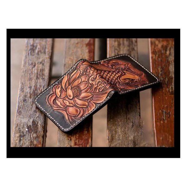 20572 - Кошелек-портмоне ручной работы Kongery Golden Carp: кожа первый слой