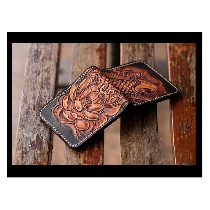 Кошелек-портмоне ручной работы Kongery Golden Carp: кожа первый слой 200376