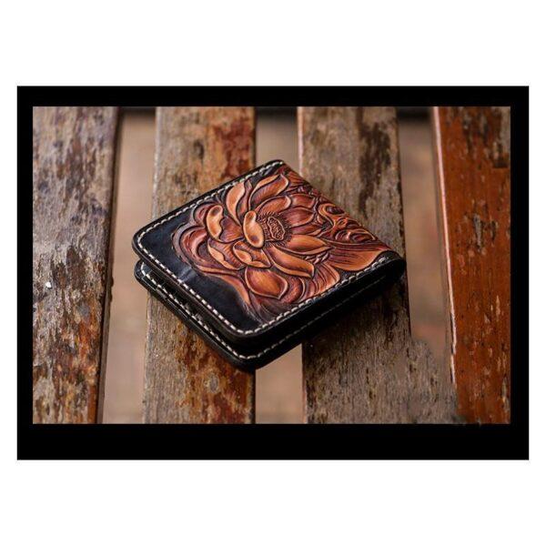 20573 - Кошелек-портмоне ручной работы Kongery Golden Carp: кожа первый слой
