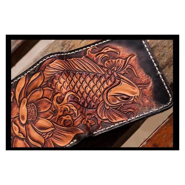 20575 - Кошелек-портмоне ручной работы Kongery Golden Carp: кожа первый слой