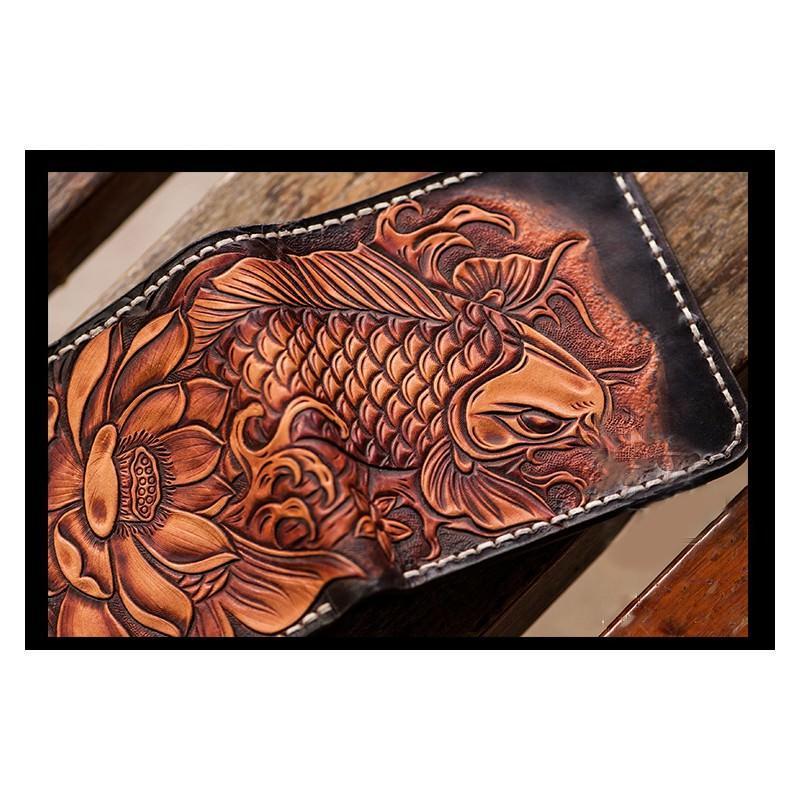 Кошелек-портмоне ручной работы Kongery Golden Carp: кожа первый слой 200379