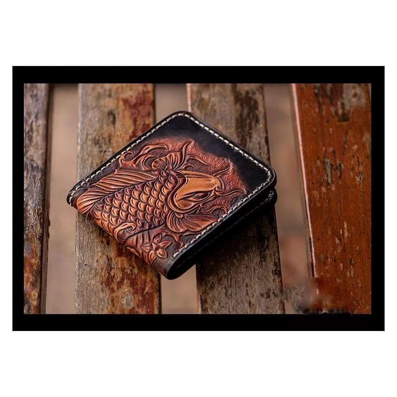 Кошелек-портмоне ручной работы Kongery Golden Carp: кожа первый слой