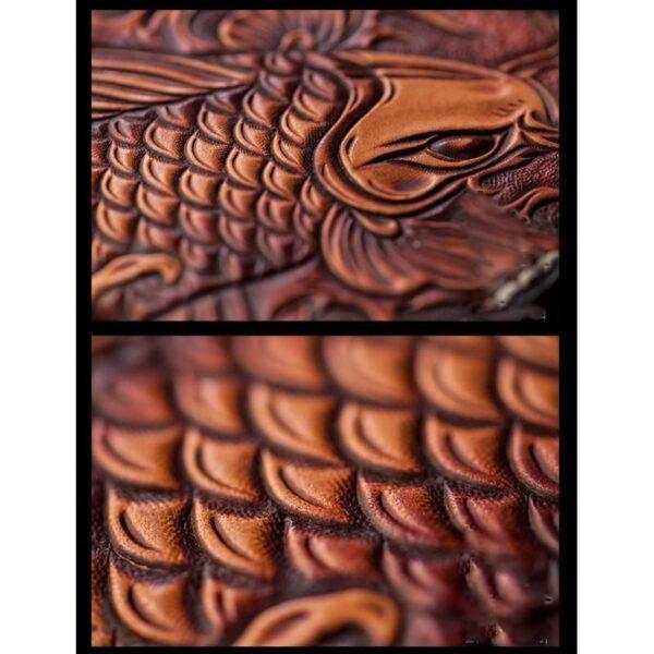 20584 - Кошелек-портмоне ручной работы Kongery Golden Carp: кожа первый слой