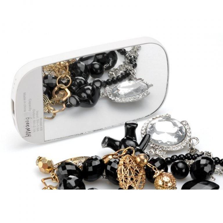 2060 - Портативный внешний аккумулятор/ power-bank с зеркалом – 6000 мАч, для любых мобильных устройств (отличный подарок женщине)