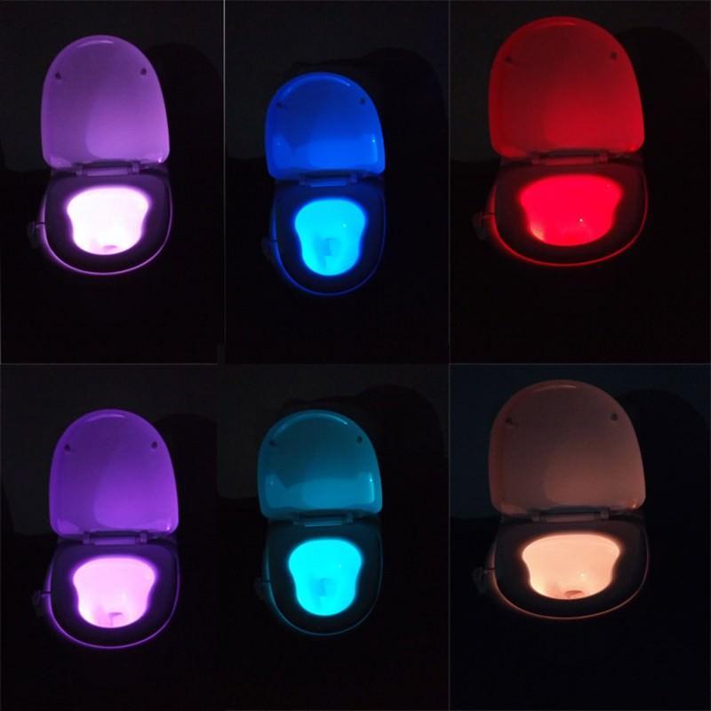 Ночник-подсветка для унитаза: светодиод, 8 цветов, датчик движения, легко моется, экономит энергию 201117