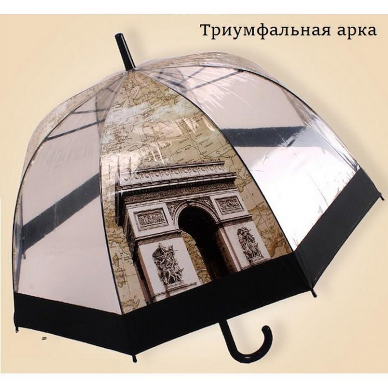 """Прозрачный полуавтоматический зонт """"Окно в Европу"""" 201446"""