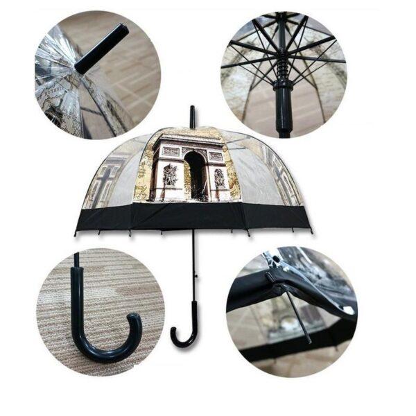 """21795 - Прозрачный полуавтоматический зонт """"Окно в Европу"""""""
