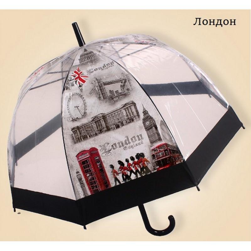 """Прозрачный полуавтоматический зонт """"Окно в Европу"""" 201453"""