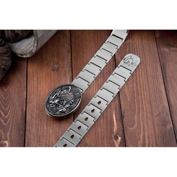 """21960 - Металлический мужской ремень с пряжкой-ножом """"Стальная кобра"""""""