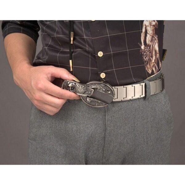"""21961 - Металлический мужской ремень с пряжкой-ножом """"Стальная кобра"""""""