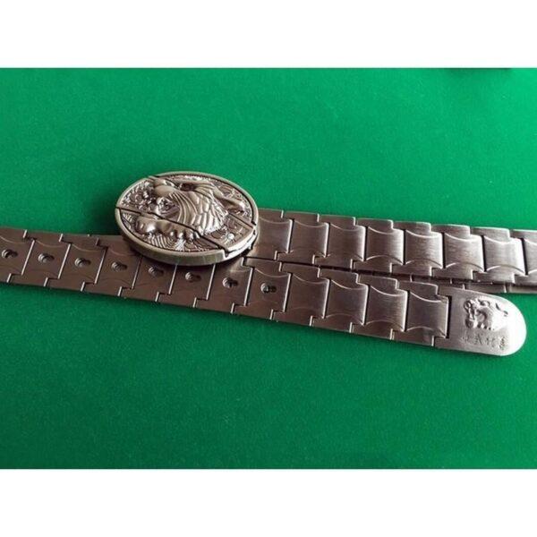 """21970 - Металлический мужской ремень с пряжкой-ножом """"Стальная кобра"""""""