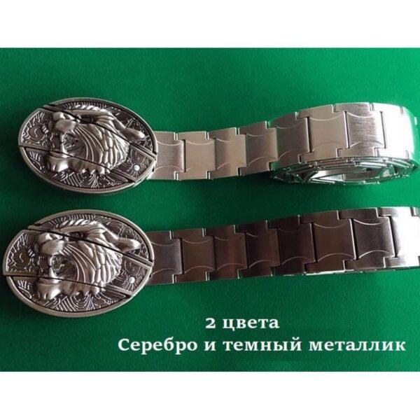 """21971 - Металлический мужской ремень с пряжкой-ножом """"Стальная кобра"""""""