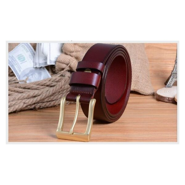 22025 - Кожаный классический ремень Rock Classic: кожа первый слой, цельный металл