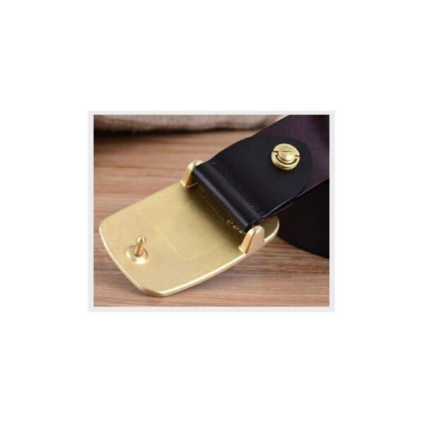 22043 - Кожаный классический ремень Golden Rock: кожа первый слой, цельный металл