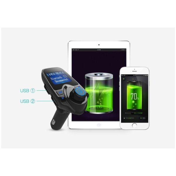 22107 - Автомобильный Bluetooth трансмиттер (FM-передатчик) + USB зарядное T11: 2 USB-порта, поддержка Micro SD-карты 32 Гб, ЖК-экран